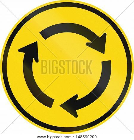 Temporary Road Sign Used In The African Country Of Botswana - Roundabout