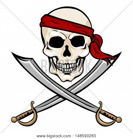 Vector Cartoon Pirate Skull In Red Headband With Cross Swords