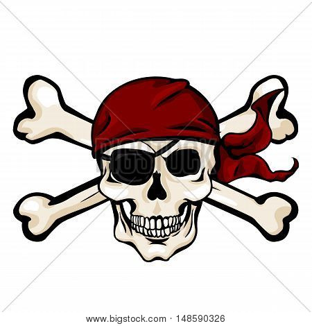 Vector Cartoon Pirate Skull In Red Bandana With Cross Bones