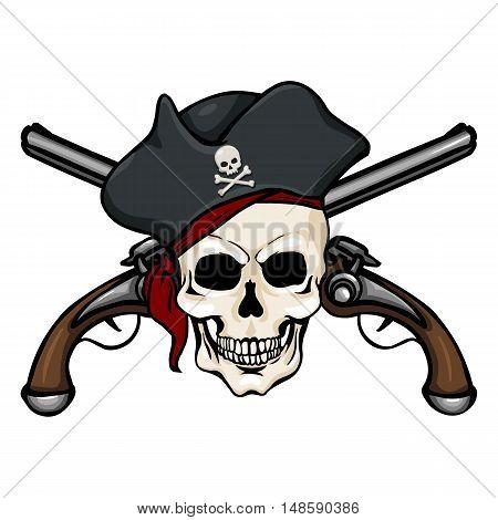 Vector Cartoon Pirate Skull In Tricorn With Cross Pistols