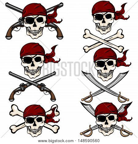 Vector Set Of Cartoon Pirate Skulls In Red Bandana