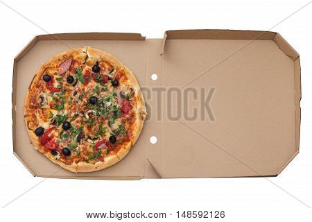 Pizza with mashrooms and chiken and olives in paper box.