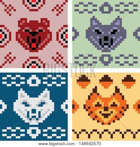 Pixel art animal pattern print set for sweater, pullover, slip-over, wooly, bag, satchel, carrier bag.