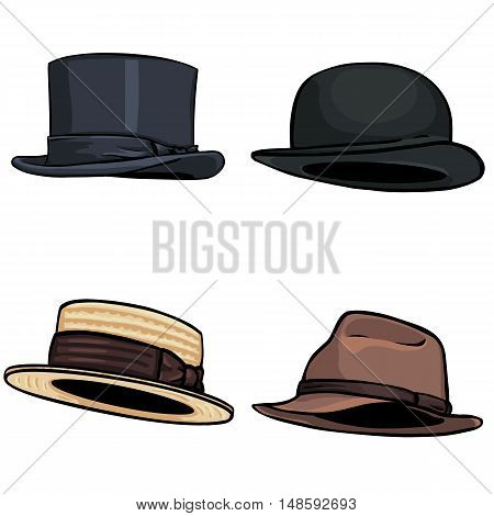 vector cartoon set of 4 hats on White Background
