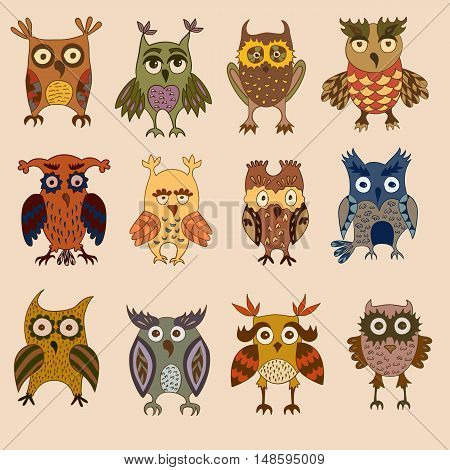 Cartoon colorful owls and owlets birds logo isolated on light coloured background.