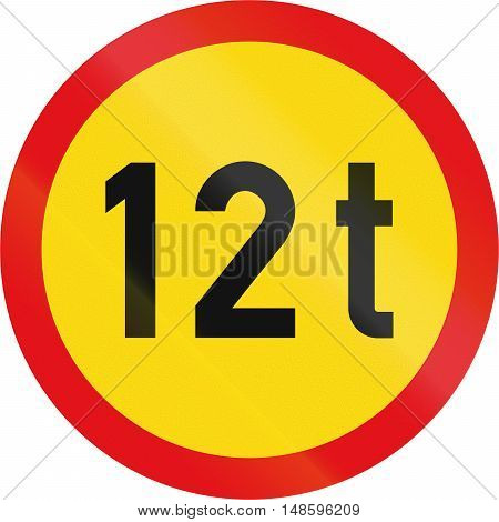 Temporary Road Sign Used In The African Country Of Botswana - Vehicles Exceeding 12 Tonnes Prohibite