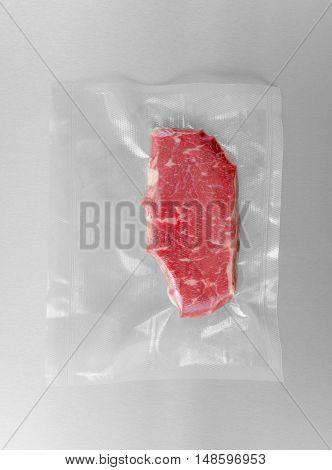 Vacuum sealed fresh rump steak for sous vide cooking