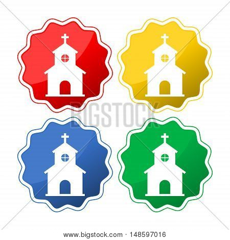 Vector church icon set on white background