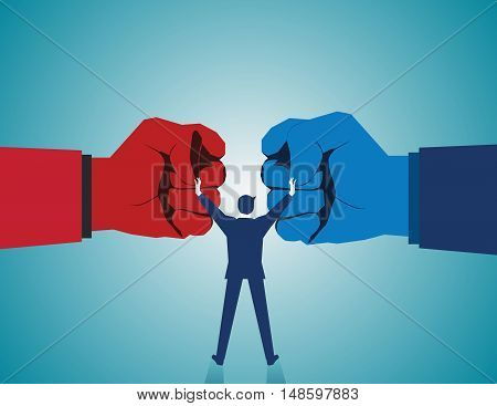 Mediate And Legal Mediation Business Concept As A Businessman Or Lawyer Separating Two Fist Glove Op