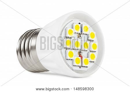 LED light bulb on a white background the board with LEDs closeup