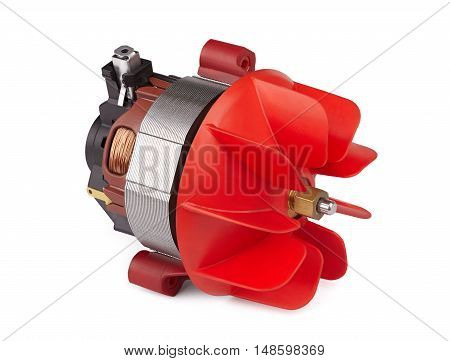 electric motor with the impeller small air turbine closeup isolated on white