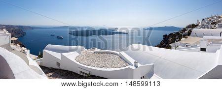 Panoramic view over the village of Imerovigli, Santorini, Greece