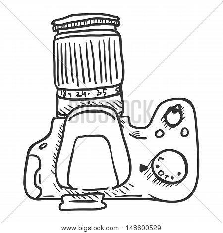 Vector Sketch Reflex Camera With Big Lens. Top View.