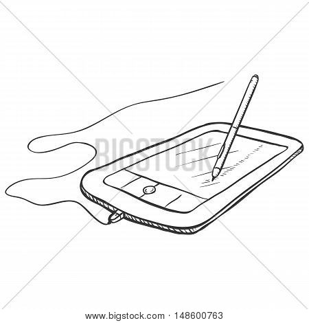 Vector Sketch Graphic Tablet With Stilus Pen