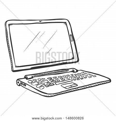 Vector Single Sketch Transformer Laptop. Tablet And Keyboard