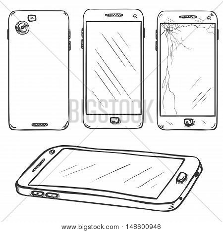 Vector Set Of Sketch Smartphones