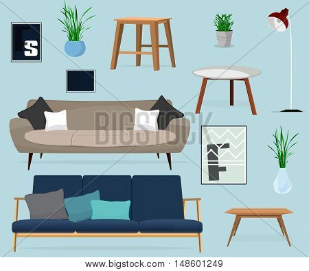 Furniture. Set of tables and sofas. Home Accessoires for