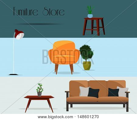Furniture. Furniture store. Set of furniture. Interior