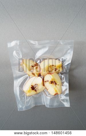 Vacuum sealed fresh apricots with cinnamon for sous vide cooking