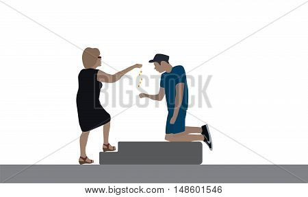 A good woman delivers a disabled beggar for food. Vector Illustration. EPS10