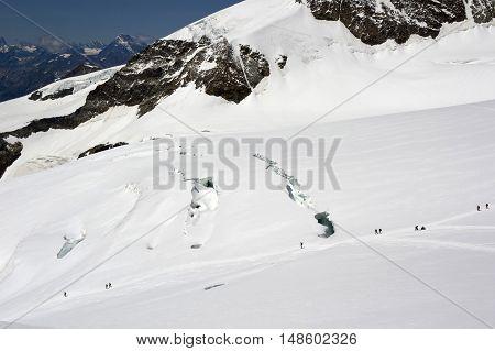 view of lys glacier on monte rosa