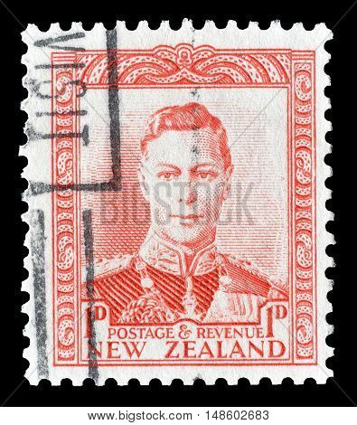 NEW ZEALAND - CIRCA 1938 : Cancelled postage stamp printed by New Zealand, that shows King George.