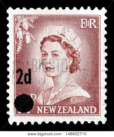 NEW ZEALAND - CIRCA 1958 : Cancelled postage stamp printed by New Zealand, that shows Queen Elizabeth.