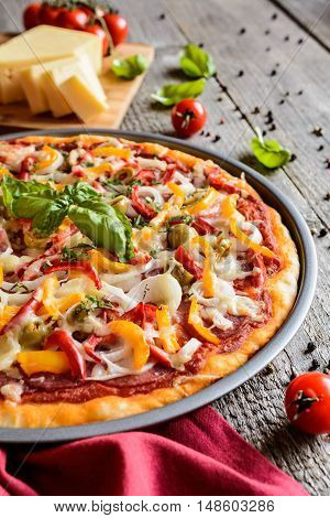 Pizza With Salami, Olives, Pepper, Onion And Cheese