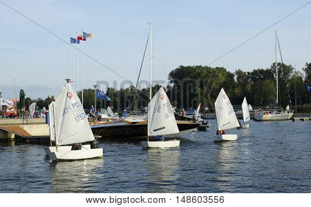 DZIWNOW, POLAND - September 17, 2016: International school of young sailors in  Poland