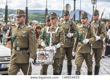 BUDAPEST, SEPTEMBER 18: Changing of the guard at the Sandor Palace on September 18, 2016 in Budapest, Hungary.