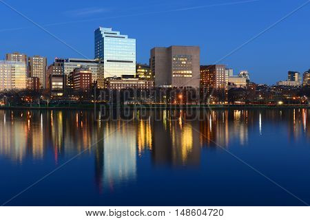 Boston Massachusetts General Hospital and West End Skyline at night, viewed from Cambridge, Boston, Massachusetts, USA