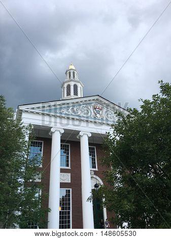 Low angle shot of the Barker Library in Harvard Business School, Harvard Universary, Boston, Massachusetts.