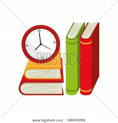 cartoon books and watch study design vector illustration esp 10