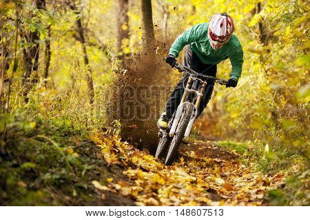Extreme mountainbiker fast rides in autumn forest