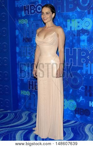 LOS ANGELES - SEP 18:  Emilia Clarke at the 2016  HBO Emmy After Party at the Pacific Design Center on September 18, 2016 in West Hollywood, CA