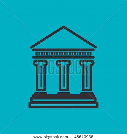 silhouette bank building blue money icon vector illustration eps 10