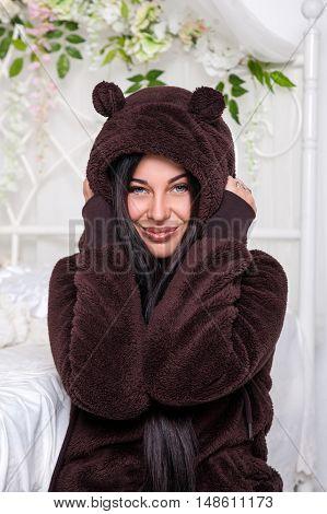 Girl In The Hood With Ears Bear