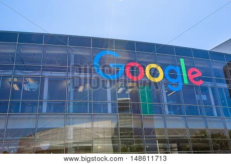 Mountain View, CA, USA - August 15, 2016: close up of Google sign on one of the Google buildings. Google is an American multinational corporation specializing in Internet-related services and products