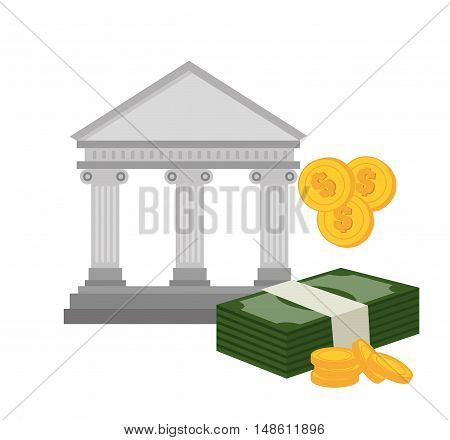 bank building with bill and currency isolated vector illustration eps 10