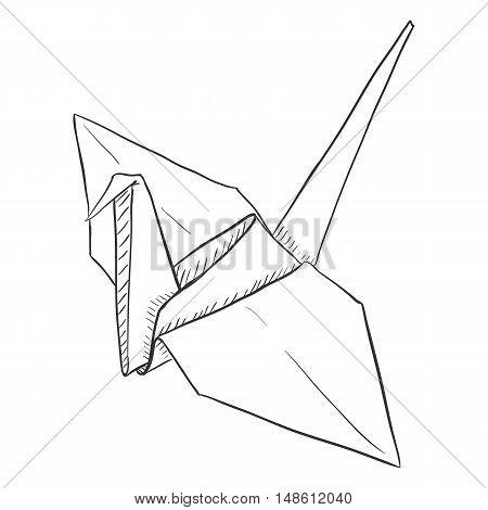 Vector Single Sketch Paper Crane