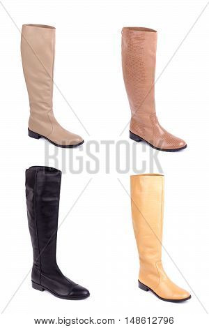 Collage women's leather shoes isolated on white background. Women's leather boots.