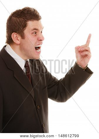Angry mad businessman boss. Furious teacher man shaking finger in scolding way isolated on white. Stress in work. Bad emotion.