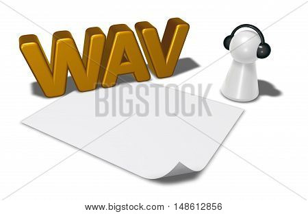 wav tag blank white paper sheet and pawn with headphones - 3d rendering