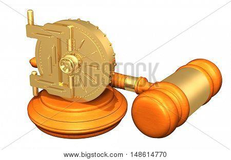 Vault Door Legal Gavel Concept 3D Illustration