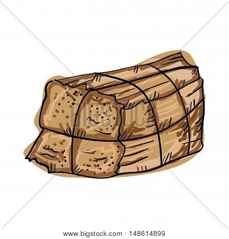bale of hay stack. farm element. drawn design vector illustration