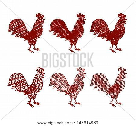 vector illustration. Rooster the symbol of the new year 2017 the set of contour icons the shaded silhouette