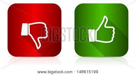 Modern design flat vector like dislike icon. Eps 10 buttons.
