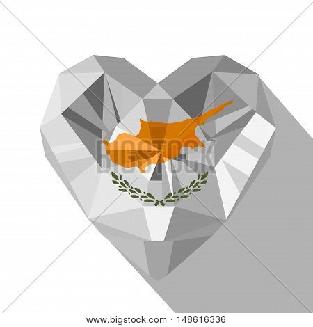 Vector crystal gem jewelry Cypriot heart with the flag of the Republic of Cyprus. Flat style logo symbol of love Cyprus. Independence Day 1 October. Europe