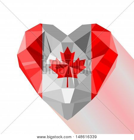Vector crystal gem jewelry Canadian heart with the flag of Canada. Flat style logo symbol of love Canada. July 1 Canada Day. North America