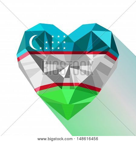 Vector crystal gem jewelry Uzbekistan's heart of the Republic of Uzbekistan. Flat style logo symbol of love Uzbekistan. Central Asia. September 1 Independence Day.